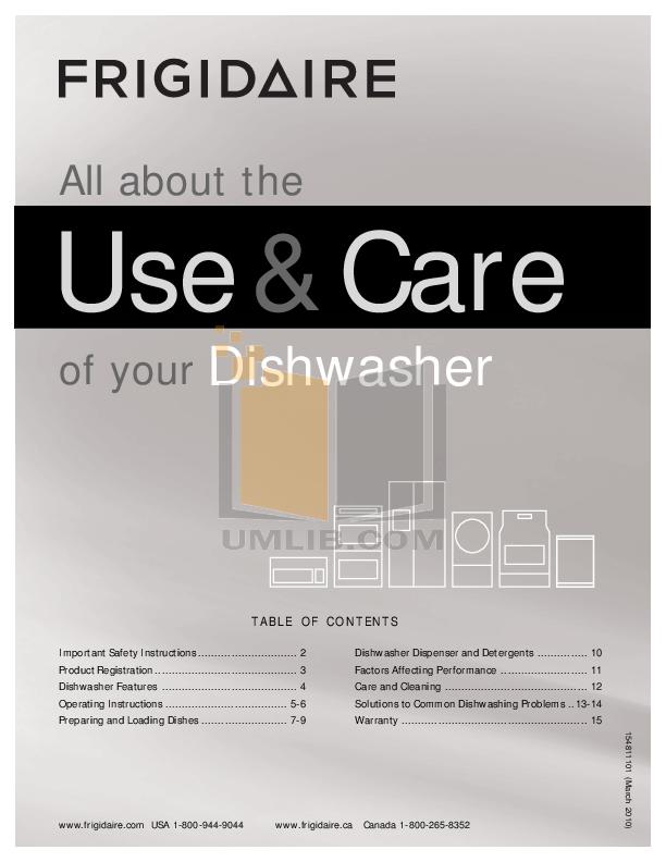 download free pdf for frigidaire ffbd2409ls dishwasher manual