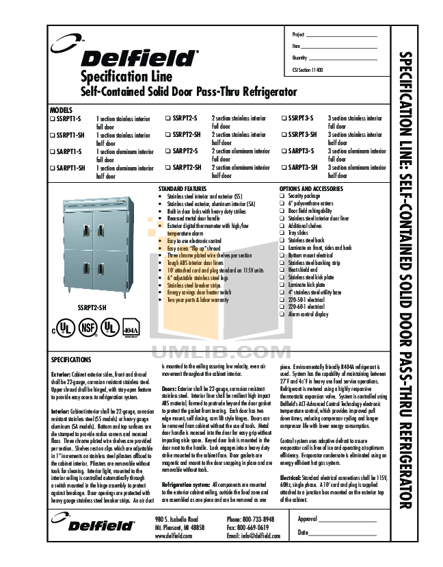 pdf for Delfield Refrigerator SARPT1-SH manual