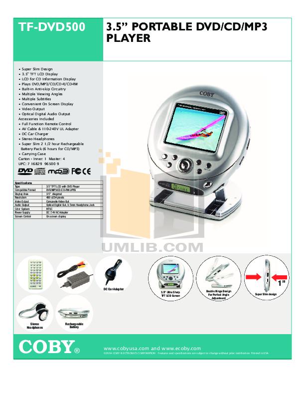 download free pdf for coby tf dvd500 portable dvd player manual rh umlib com User Manual User Manual
