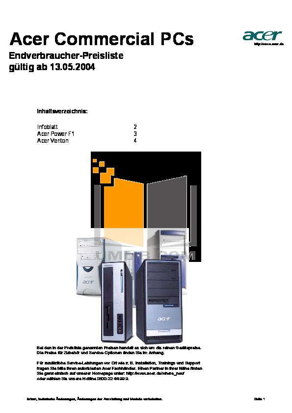 pdf for Acer Desktop AcerPower SV manual