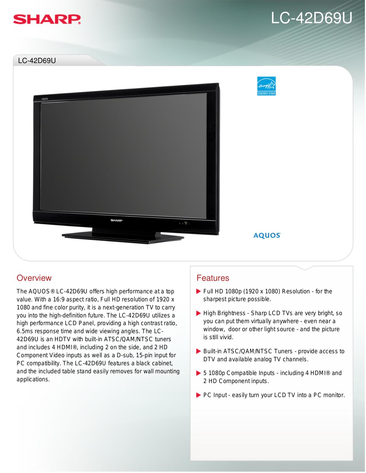 download free pdf for sharp aquos lc 42d69u tv manual rh umlib com 32 Sharp AQUOS LED TV Remote 32 Inch Sharp AQUOS LC 37D5u