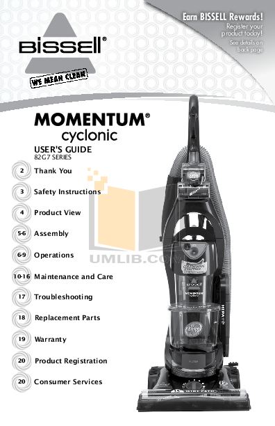 pdf for Bissell Vacuum 4220 manual