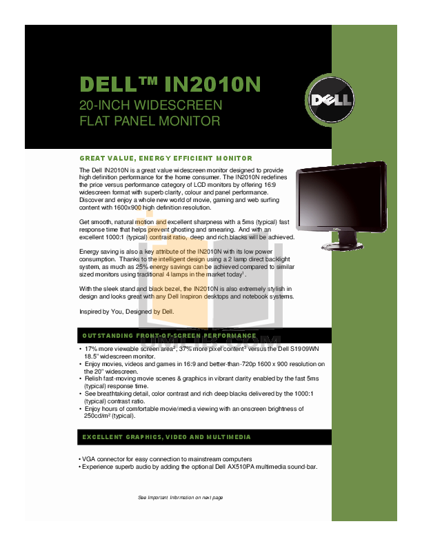 pdf for Dell Monitor IN2010N manual