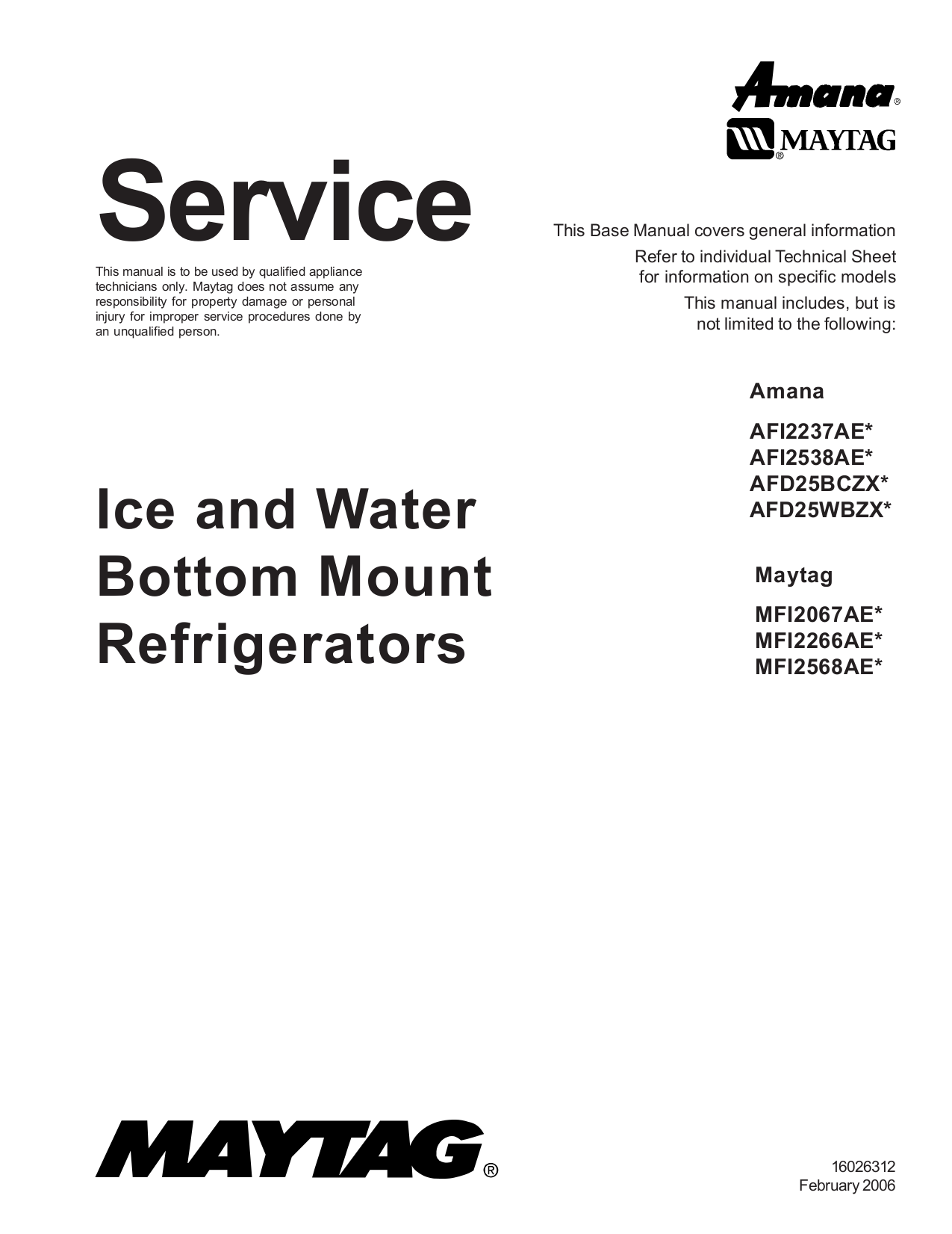 download free pdf for maytag ice2o mfi2568aes refrigerator