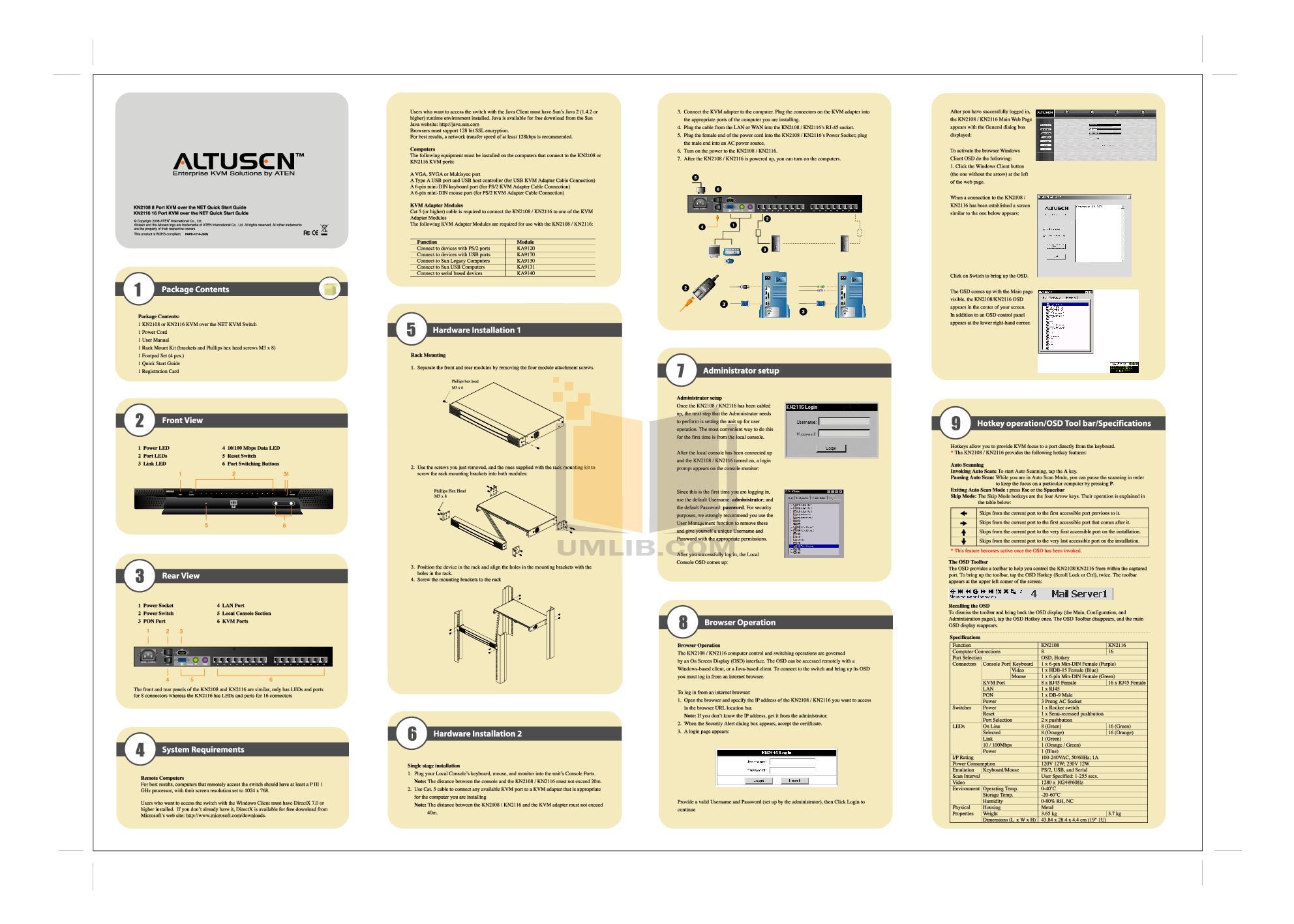 pdf for ATEN Other Altusen KN-2116 KVM Switch manual