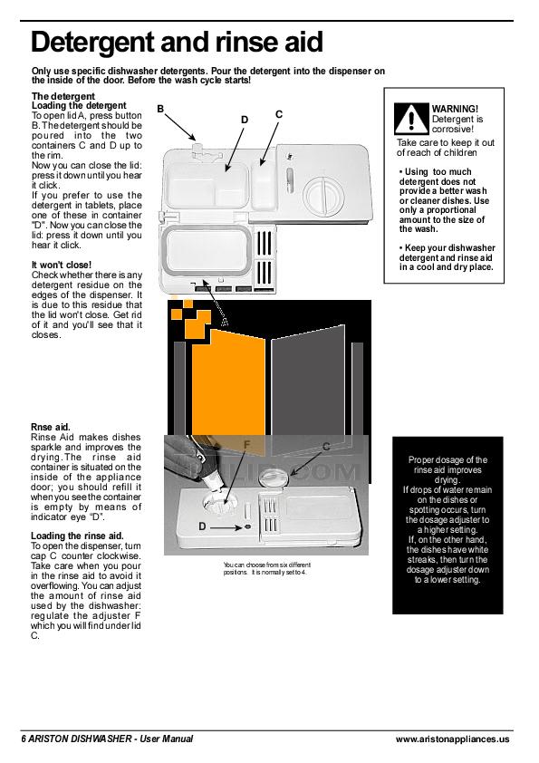 pdf manual for ariston dishwasher l 63 w na rh umlib com Ariston Dishwasher Service Manual Ariston Dishwasher Control Panel
