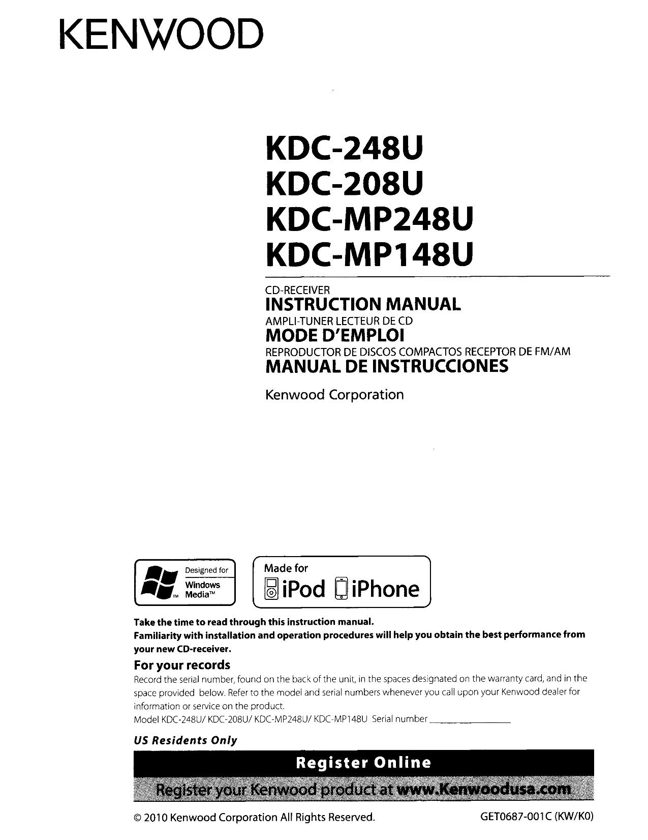 Download Free Pdf For Kenwood Kdc 2025 Car Receiver Manual Model Wiring Diagram