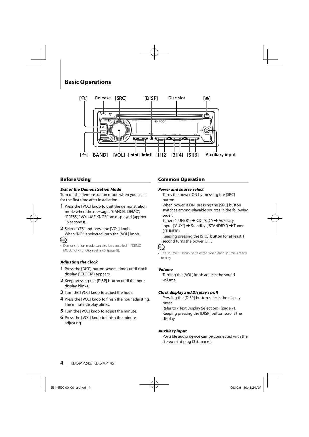 Kenwood Car Receiver KDC-2025 pdf page preview