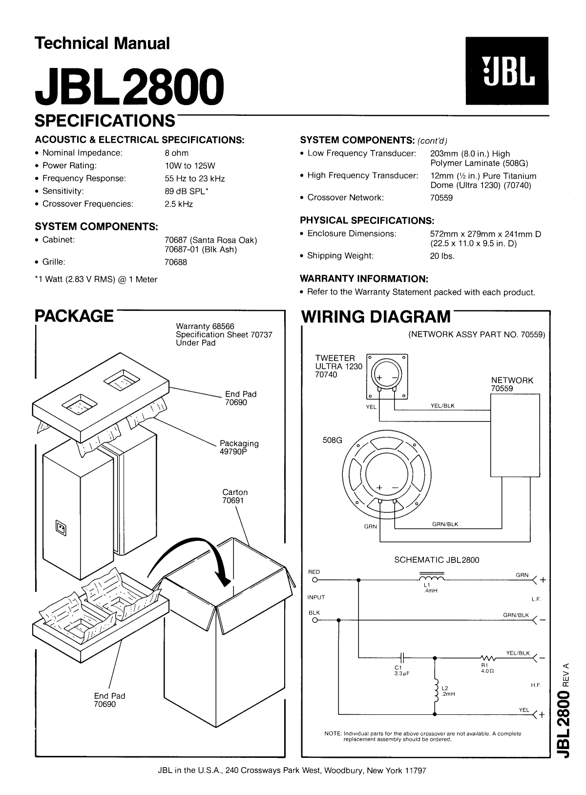 download free pdf for jbl jbl2800 speaker manual rh umlib com manual for jbl speaker l3 pdf JBL Service Manual