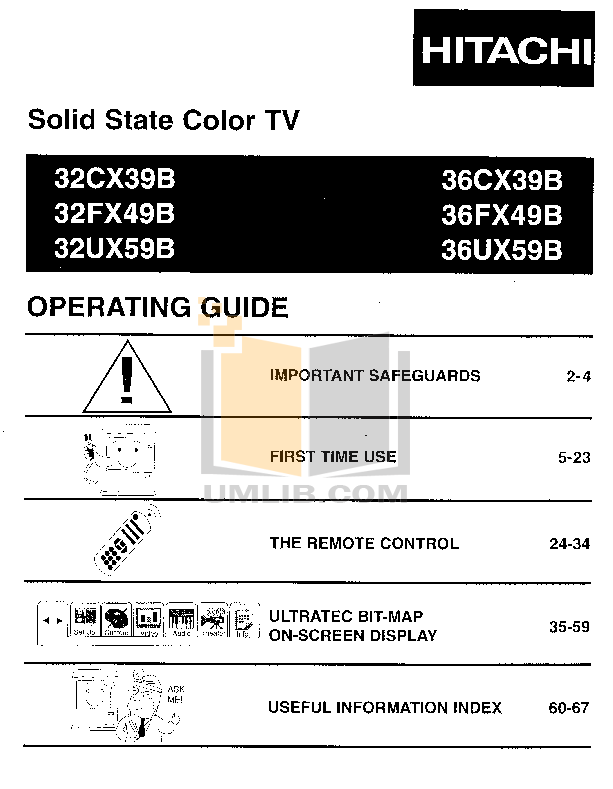 pdf for Hitachi TV 32CX39B manual