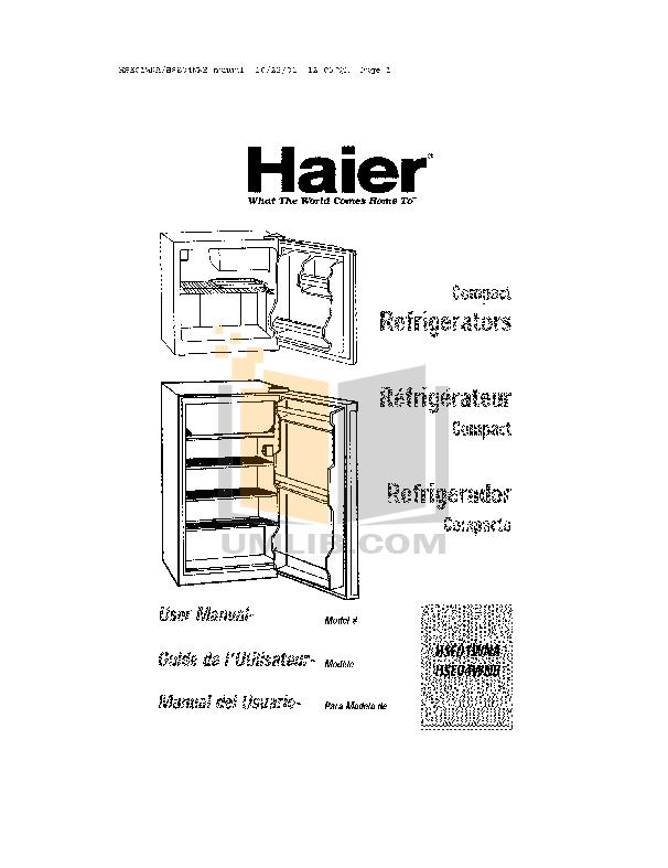 pdf for Haier Refrigerator HSE04WNB manual