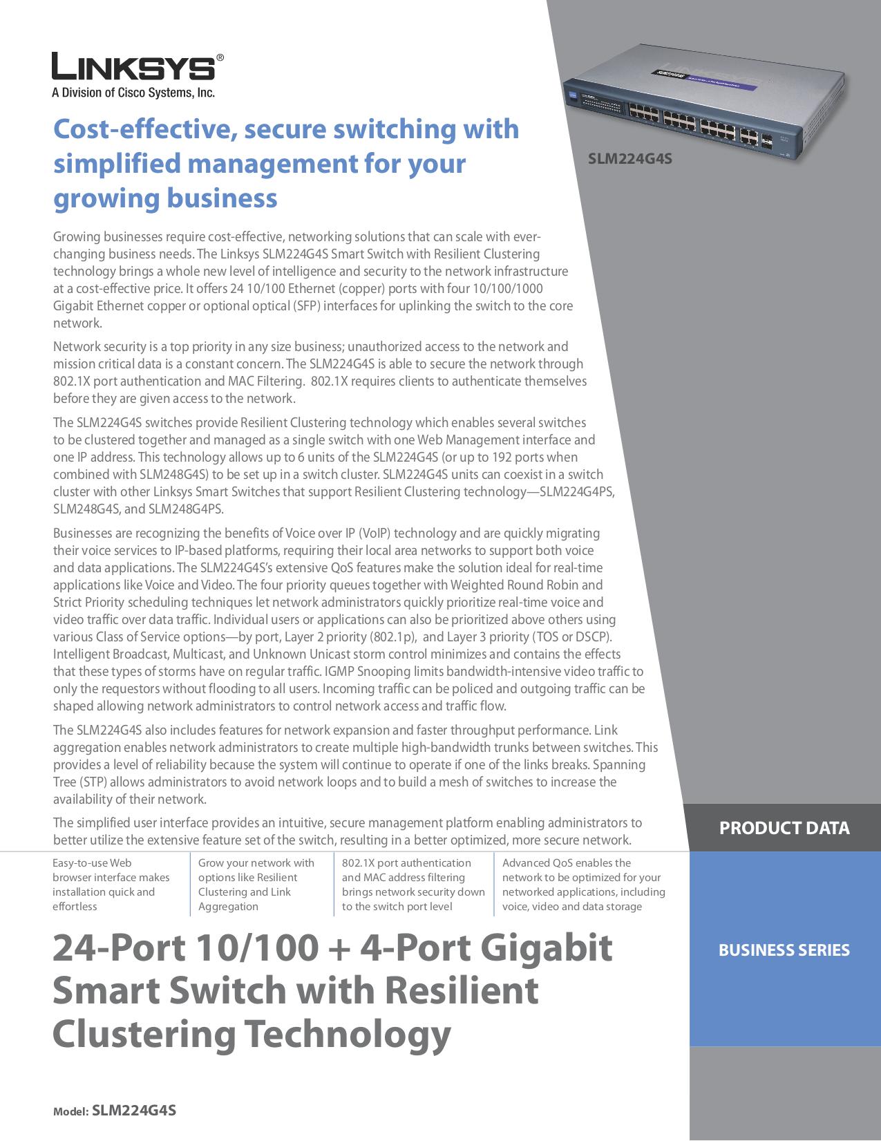 pdf for Linksys Switch SLM224G4S manual