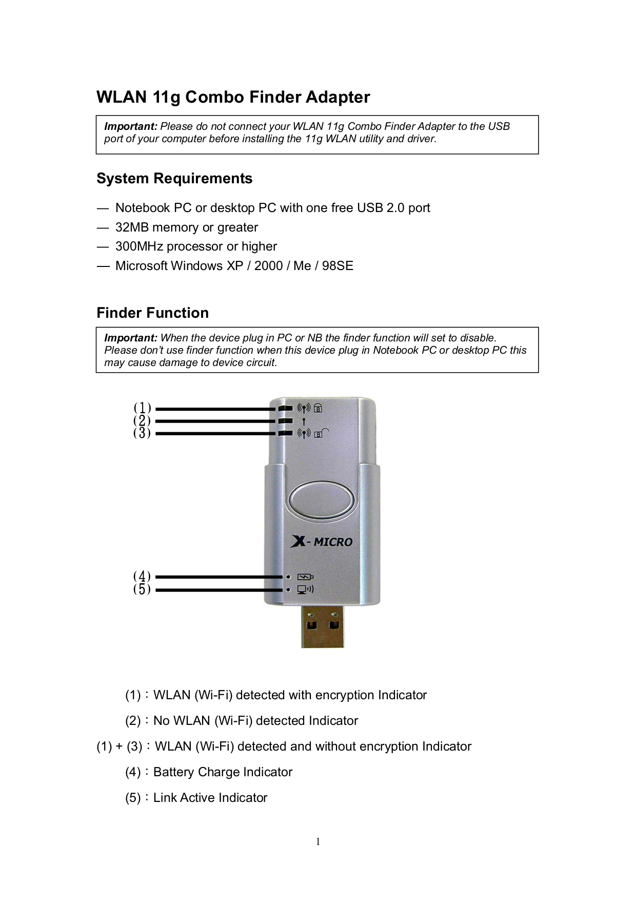 X-Micro Other XWL-11GFZX Adapters pdf page preview