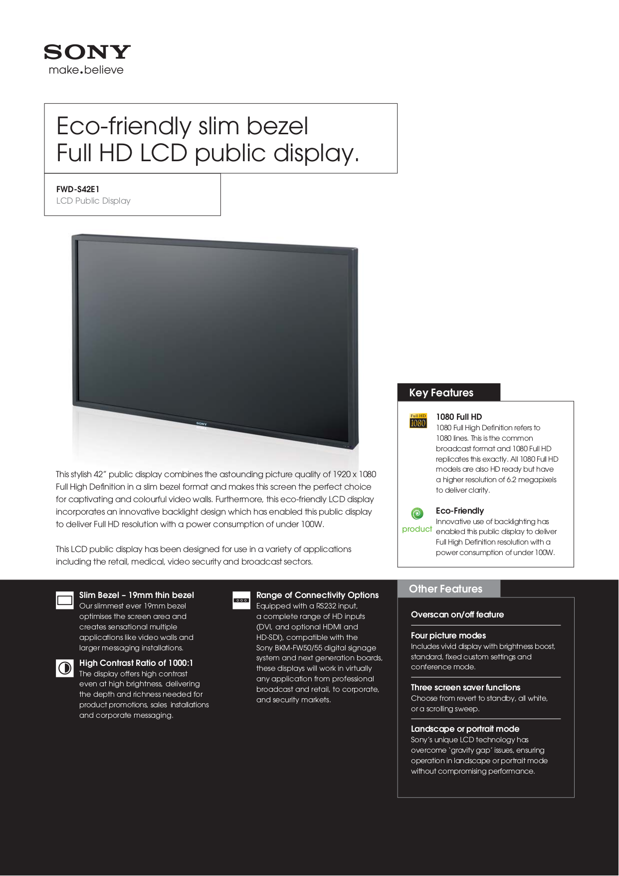 pdf for Sony Monitor FWDS42E1 manual