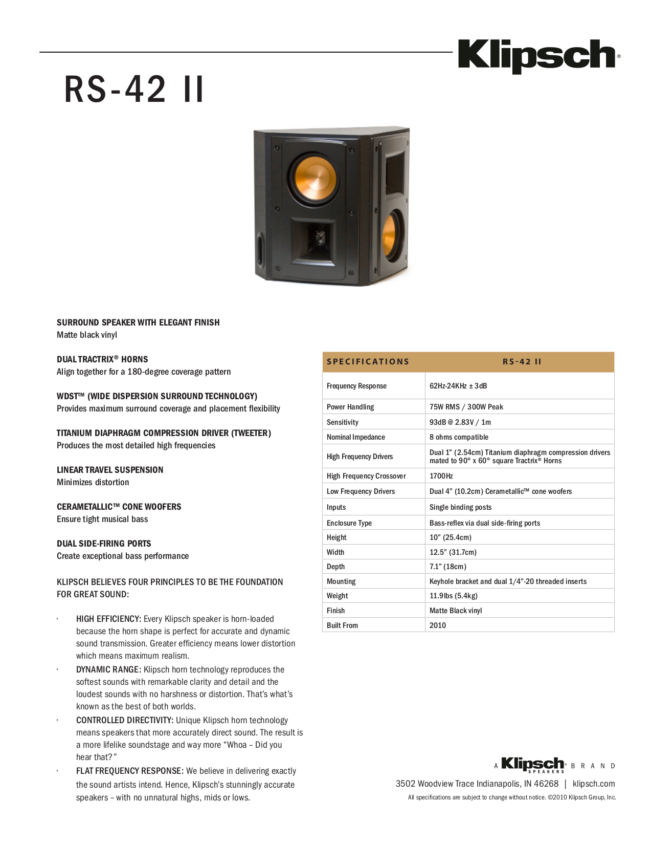 download free pdf for klipsch reference series rs 42 ii speaker manual. Black Bedroom Furniture Sets. Home Design Ideas