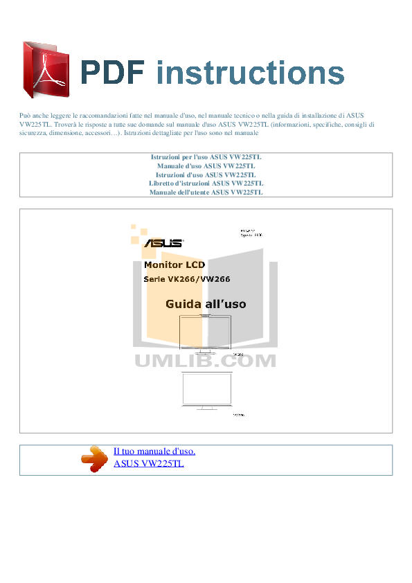 pdf for Asus Monitor VW225TL manual