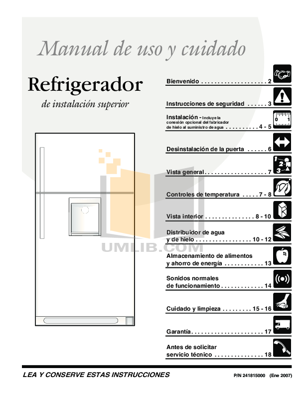 pdf for Frigidaire Refrigerator FRT18G6J manual
