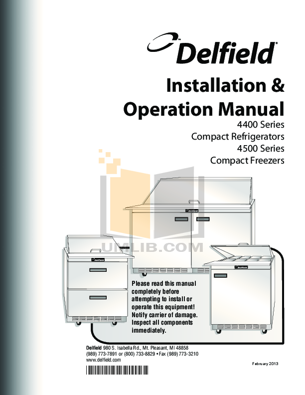pdf for Delfield Refrigerator ST4464N manual