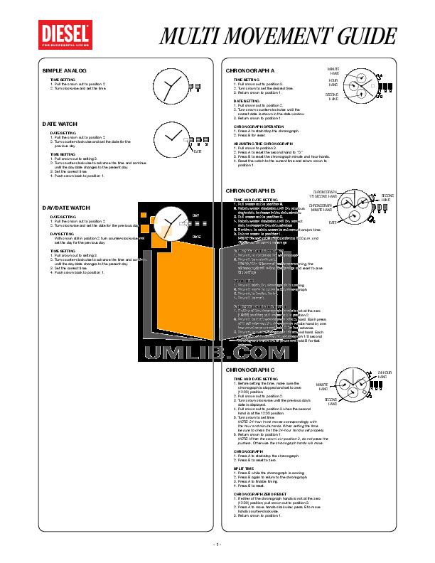 pdf for Diesel Watch DZ7179 manual