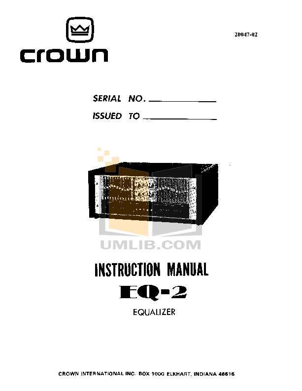 pdf for Crown Other EQ-2 Equalizers manual