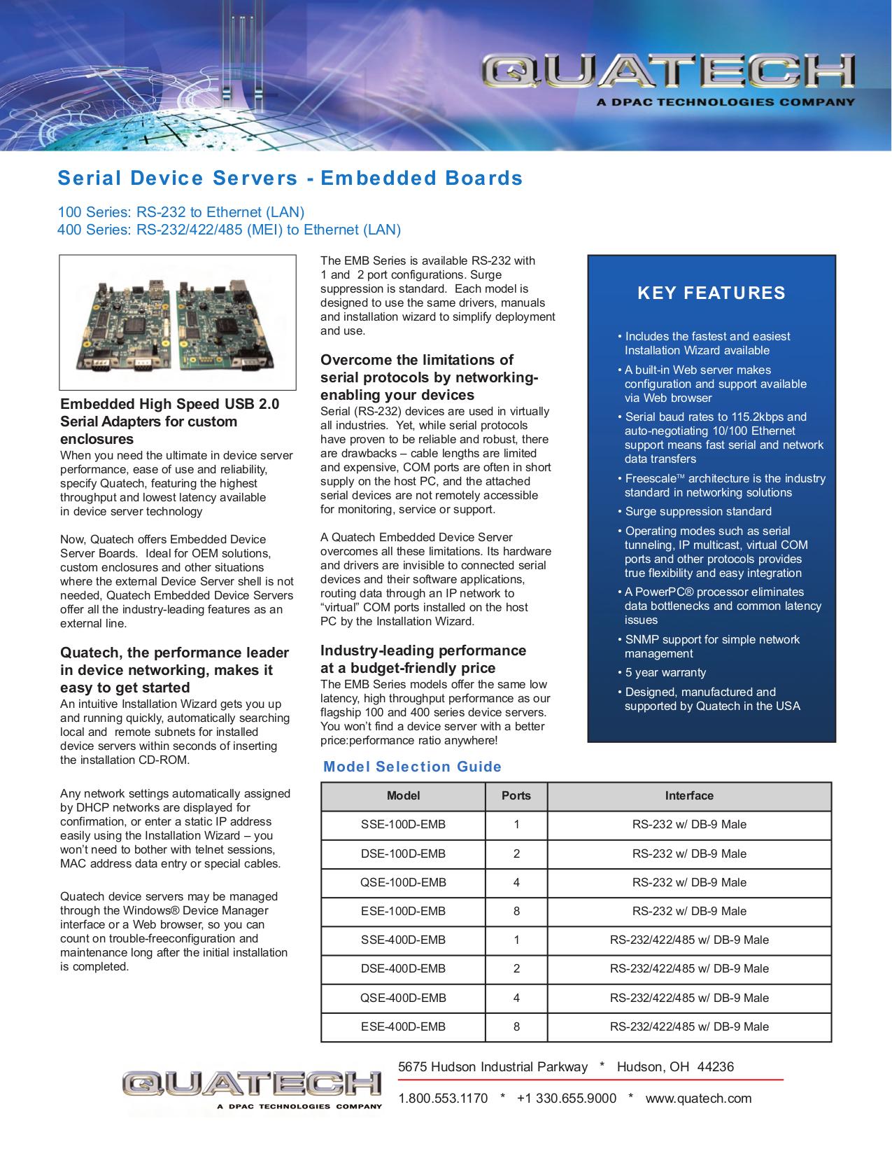 Download free pdf for Quatech QSE-100D Servers Other manual