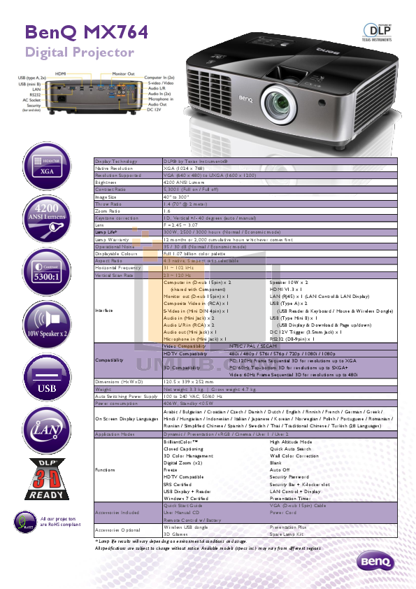pdf for Benq Projector MX764 manual