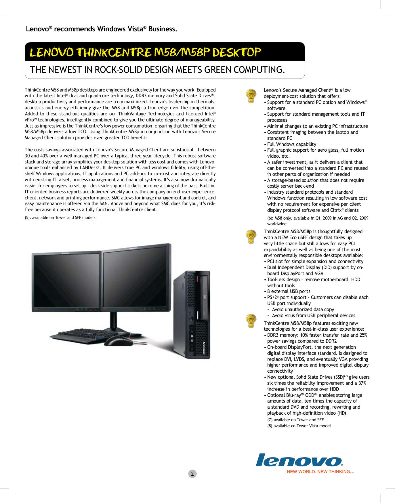 Lenovo Desktop ThinkCentre M58p 7483 pdf page preview