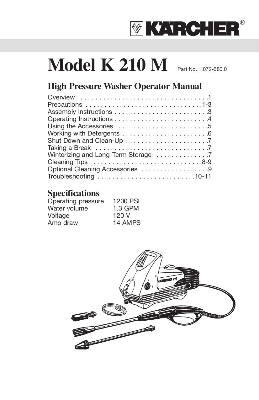 Download Free Pdf For Karcher K 210 M Pressure Washers