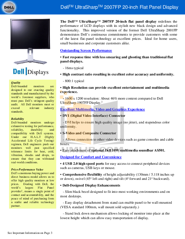 pdf for Dell Monitor UltraSharp 2001FP manual