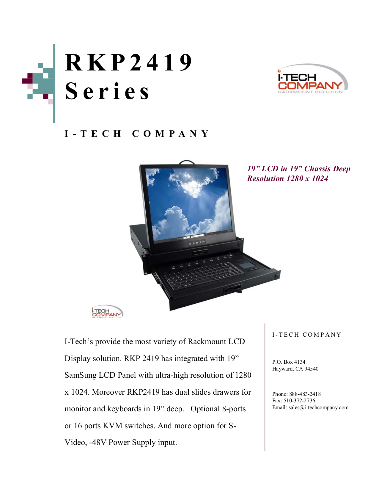 pdf for I-Tech Other RKP2419 Keyboard Drawers manual