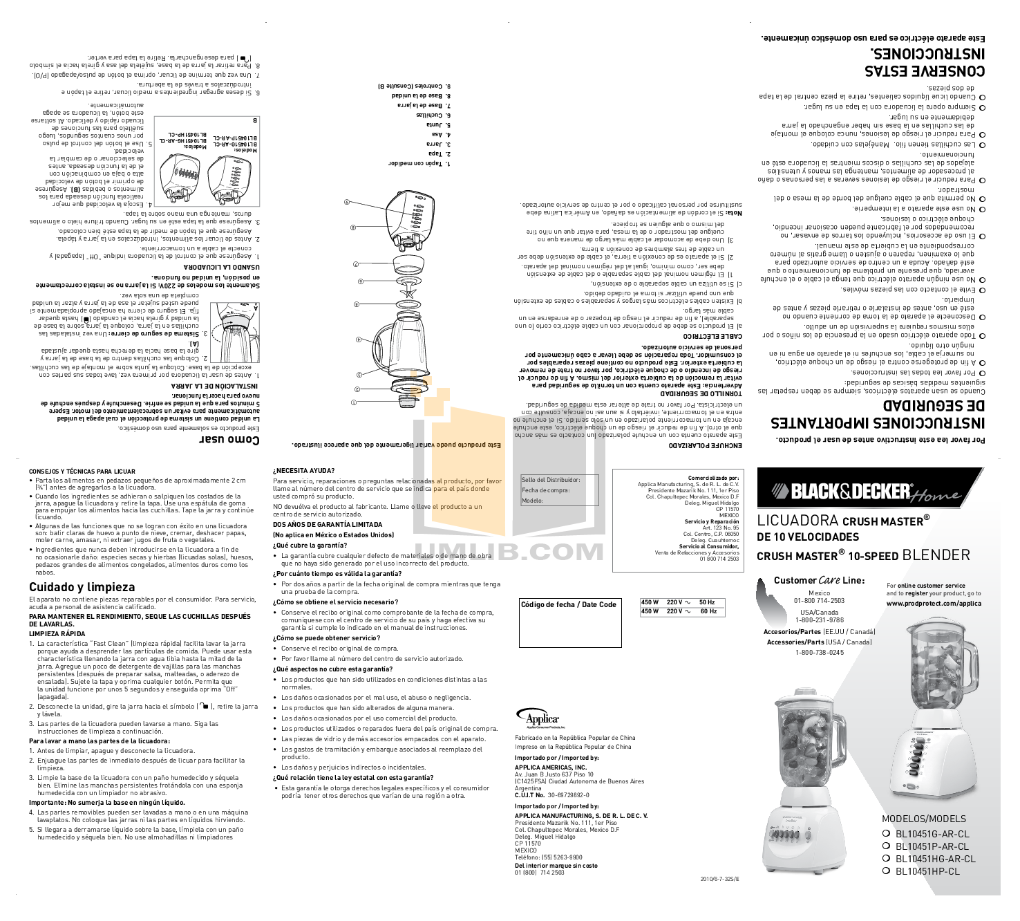 BlackAndDecker Blender BL10451HG pdf page preview