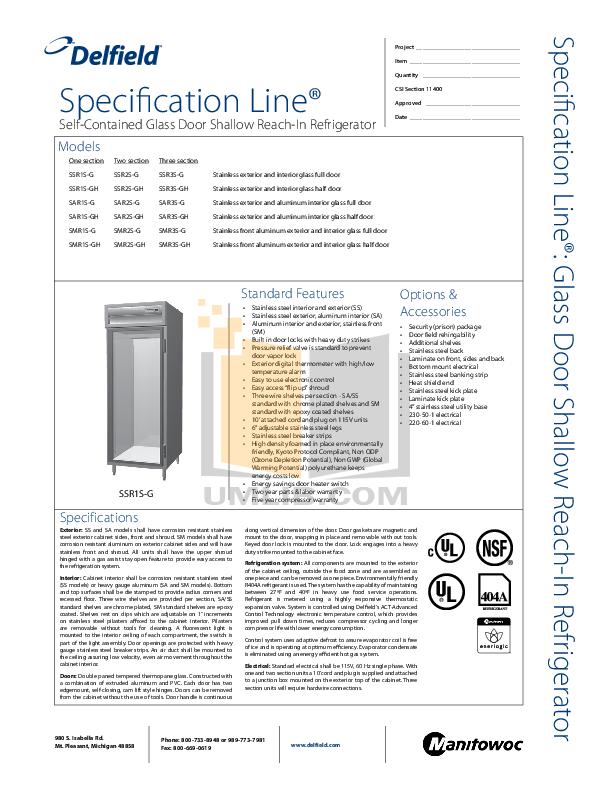 pdf for Delfield Refrigerator SSR2S-G manual