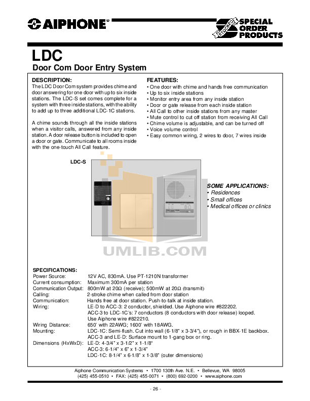 pdf for Aiphone Other LDC Intercoms manual