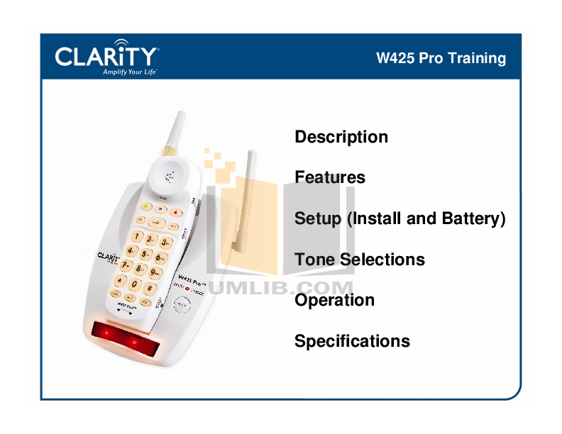 pdf for Clarity Telephone W425 manual