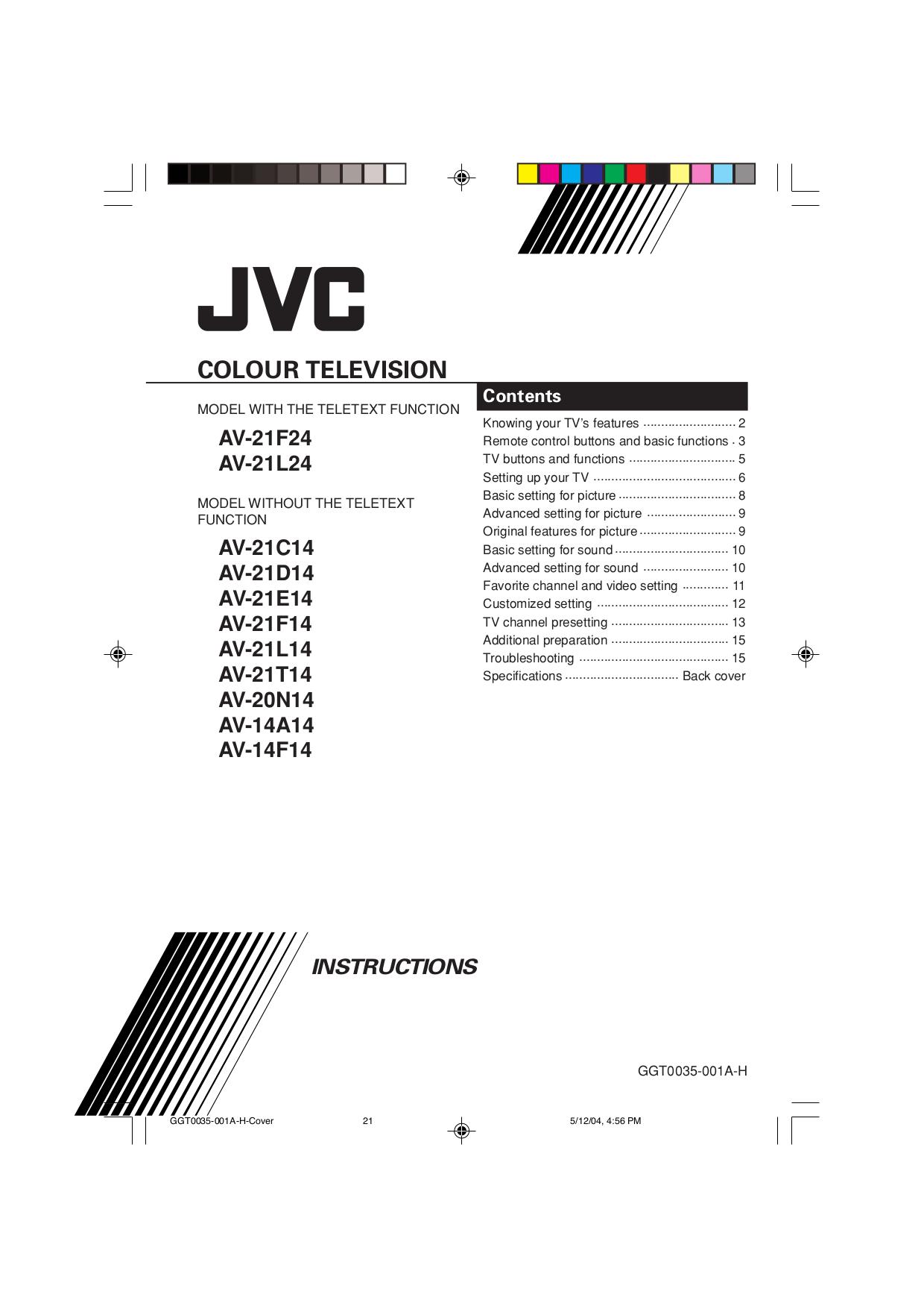 pdf for JVC TV AV-14F14 manual