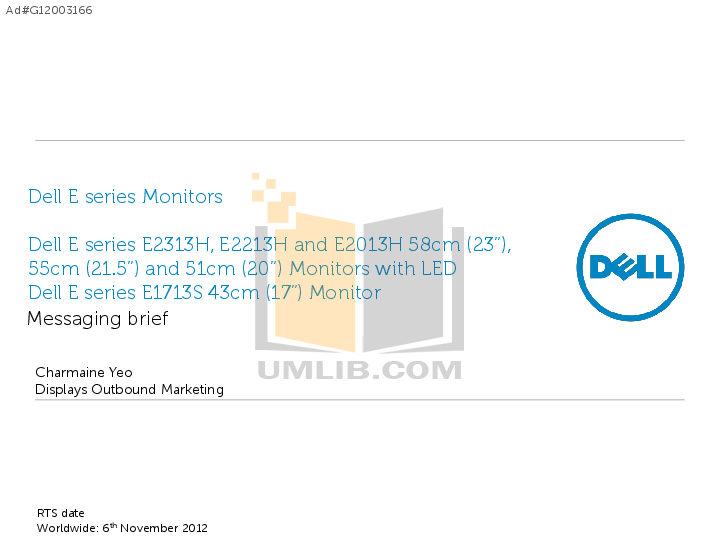 pdf for Dell Monitor E2011H manual