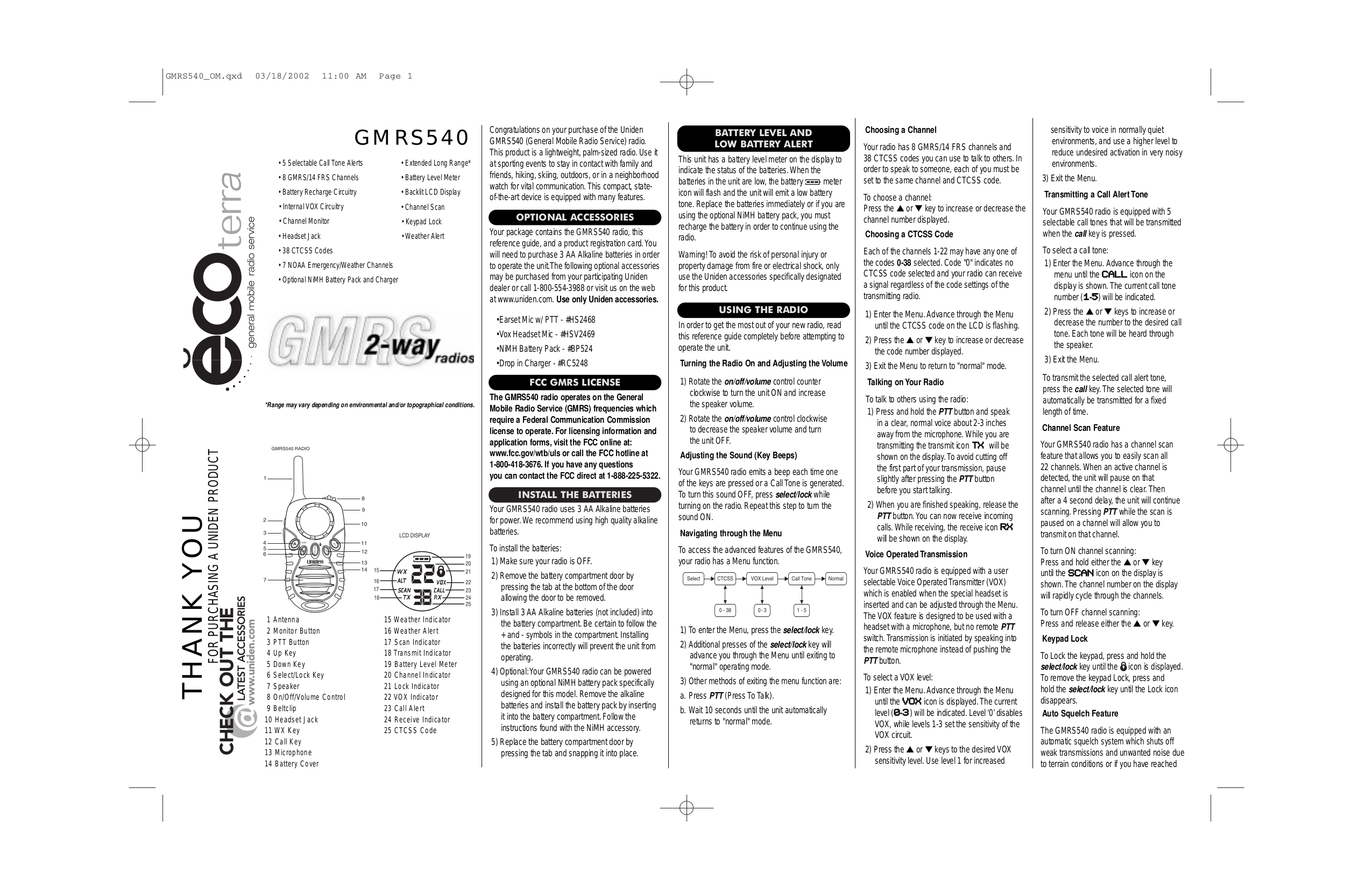 pdf for Uniden 2-way Radio GMRS540 manual