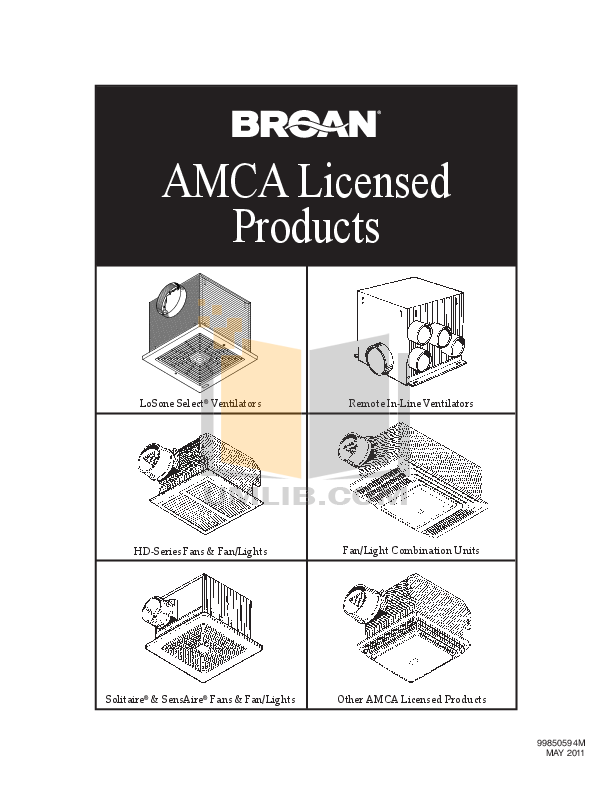 pdf for Broan-NuTone Other Designer Series 722 Exhaust Fans manual