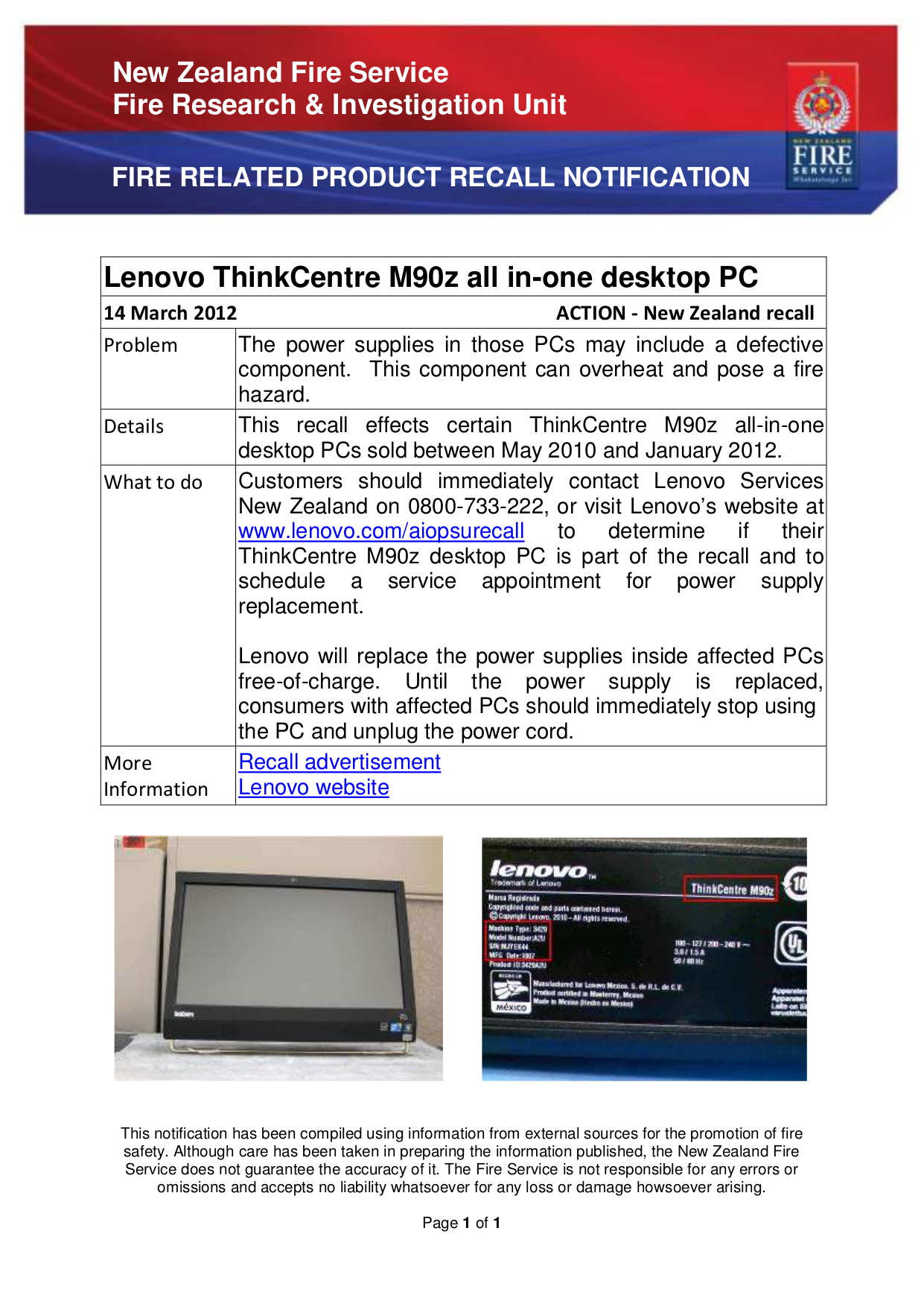 pdf for Lenovo Desktop ThinkCentre M90z 0800 manual