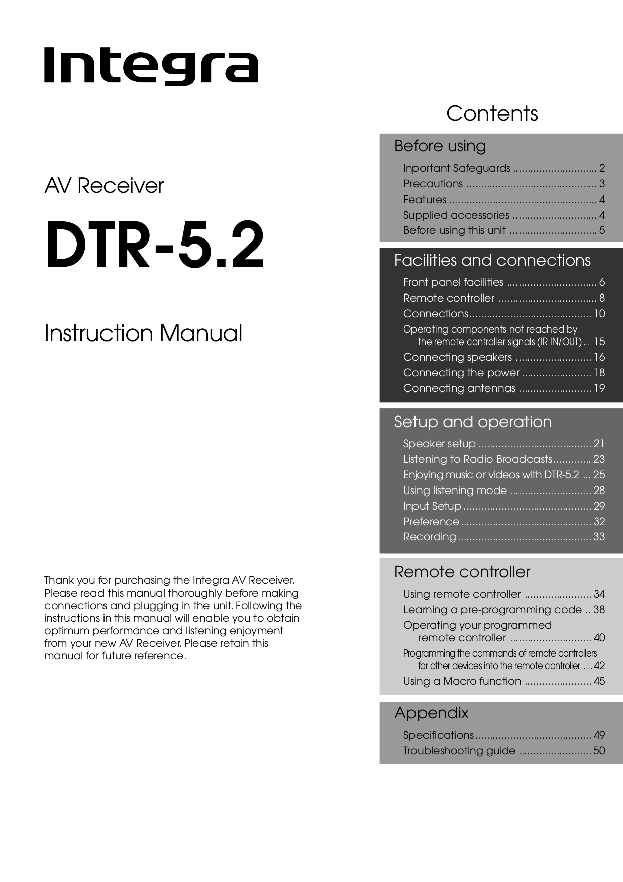 pdf for Integra Receiver DTR-5.2 manual