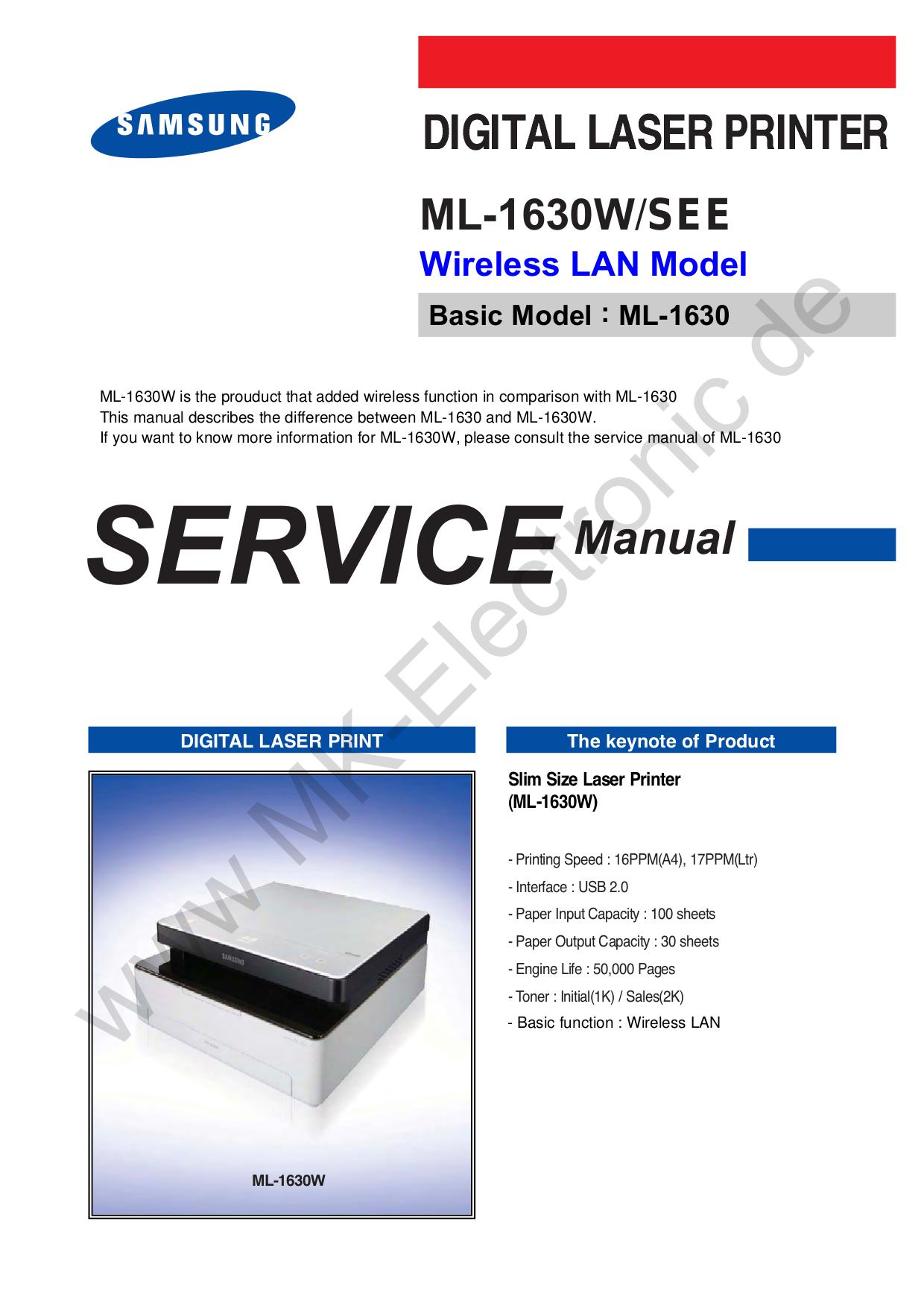 download free pdf for samsung ml 1630w printer manual rh umlib com samsung ml1630w manual Samsung TV Repair Manual