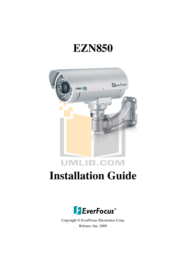 pdf for EverFocus Security Camera EZN850 manual