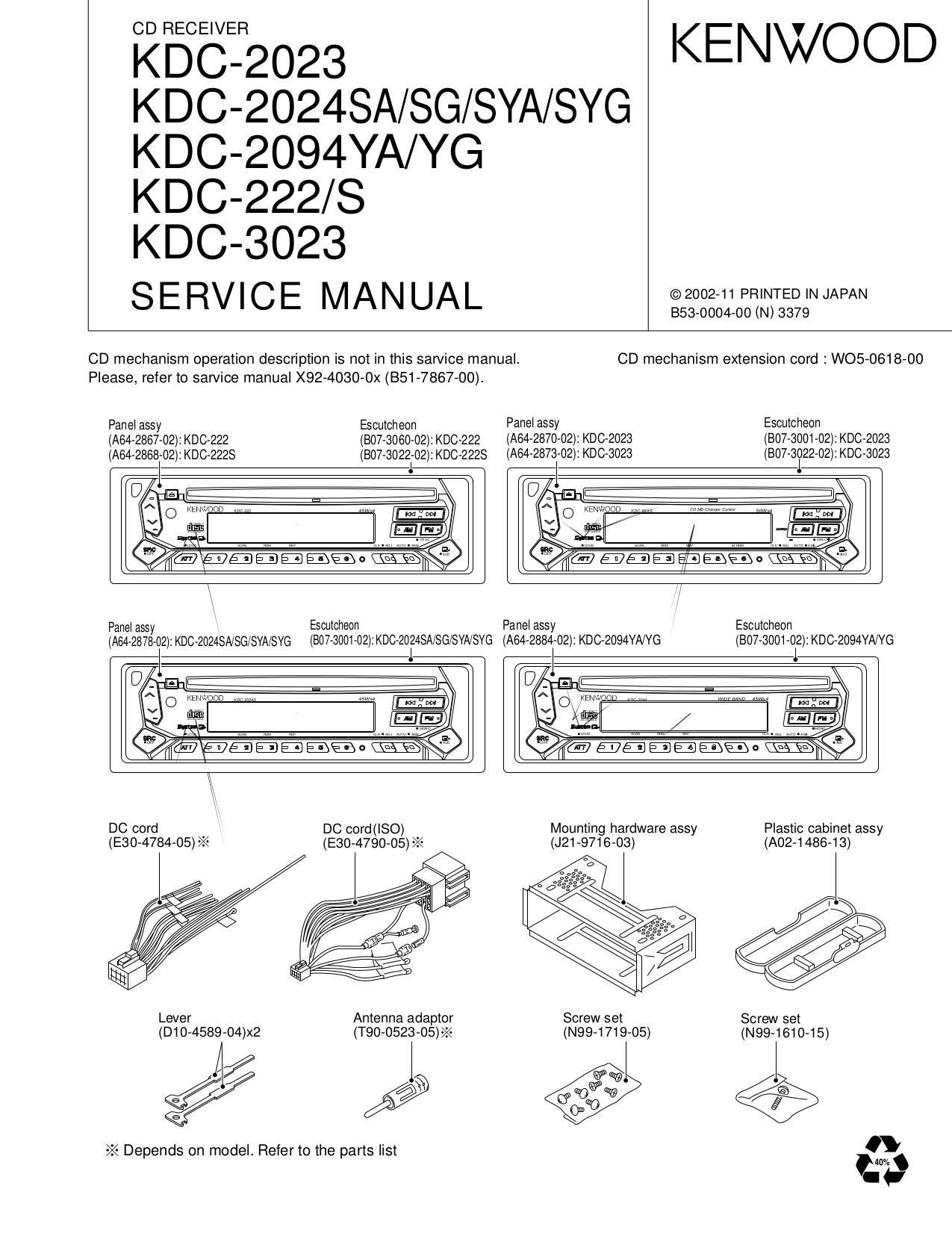 pdf for Kenwood Car Receiver KDC-135 manual