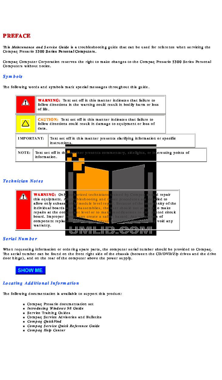 HP Laptop Compaq Presario,Presario X1204 pdf page preview