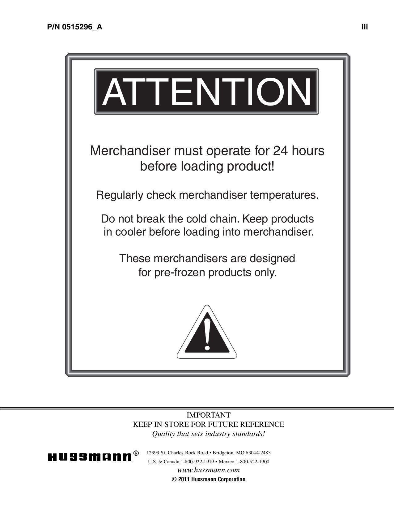 Hussmann Freezer LG pdf page preview