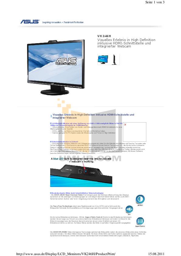 pdf for Asus Monitor VK246H manual