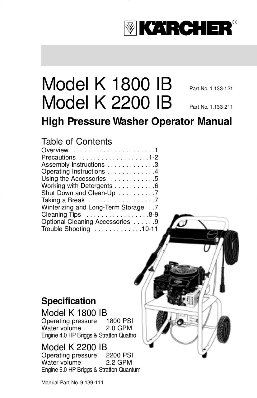 download free pdf for karcher k 2300 g pressure washers