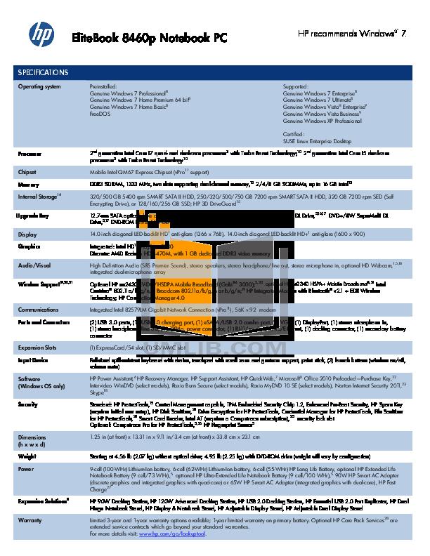 hp elitebook 8460p manual pdf