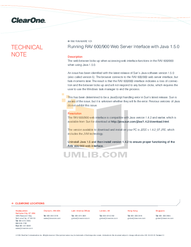 pdf for ClearOne Telephone RAV 900 manual