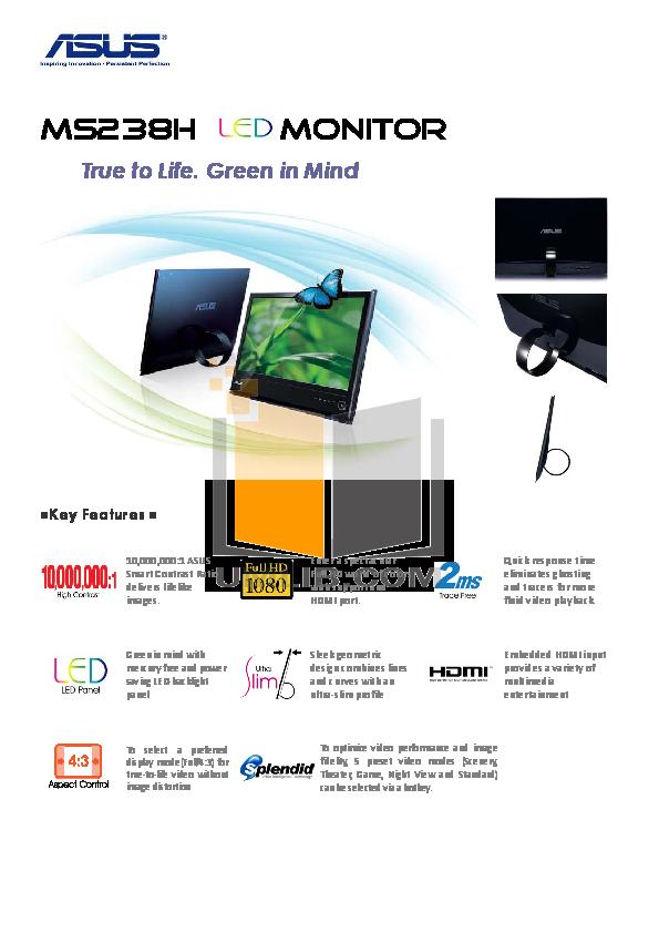 pdf for Asus Monitor MS238H manual
